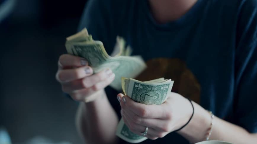 lady counting bank money